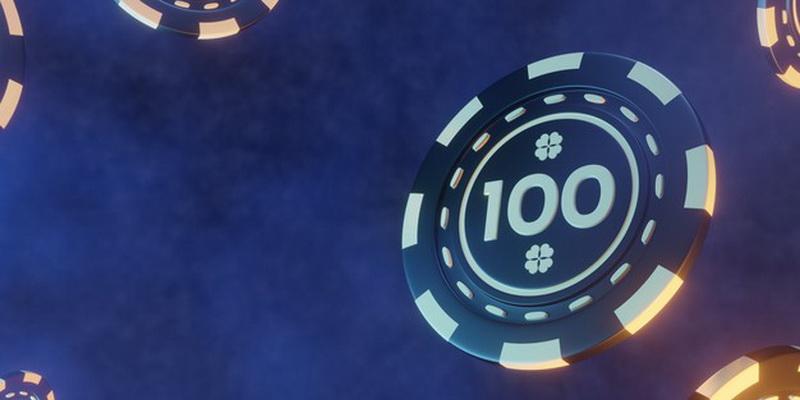 Pokerio žetonas, kurio vertė 100