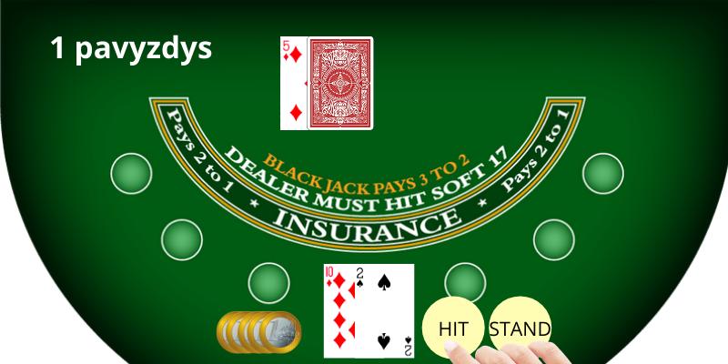Blackjack kazino kortų skaičiavimas 1 pavyzdys