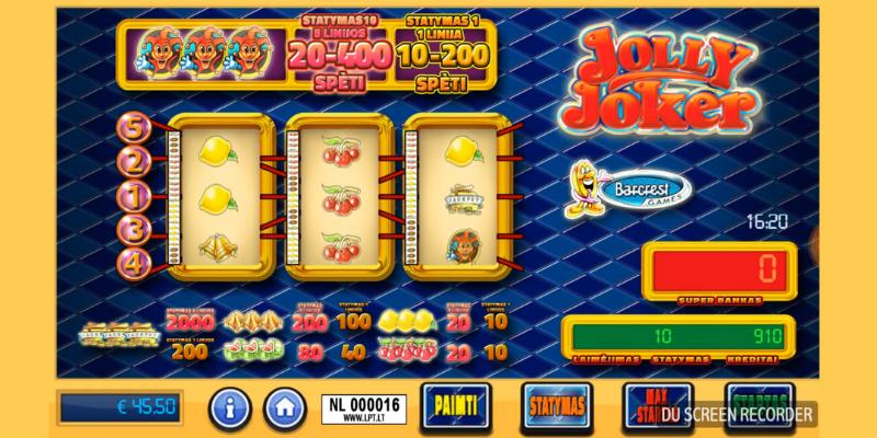Kazino žaidimų automatai internete - pagrindinis Jolly Joker žaidimas