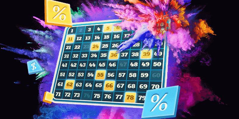 Keno loto lentelė su skaičiais
