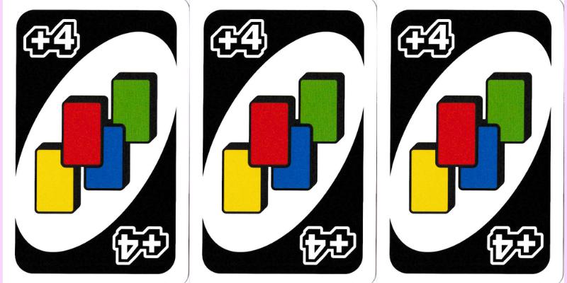 Kortų žaidimas Uno taisyklės - laukinės kortos - imti keturis