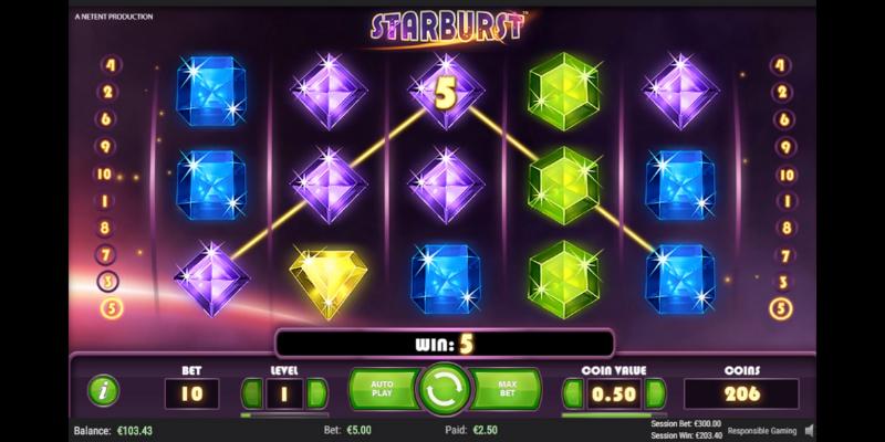Nemokami lošimų automatai internete - Starburst
